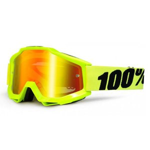 Masque Cross 100% Accuri Junior - Jaune Fluo - Ecran Iridium - 2018