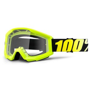 Masque Cross 100% Strata Junior - Jaune Fluo - Ecran Clair - 2018