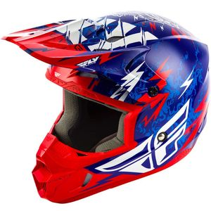 Casque Cross Fly Kid Kinetic - Shocked - Blue Red 2019