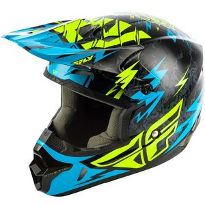 Casque Cross Fly Kid Kinetic - Shocked - Black Teal 2019