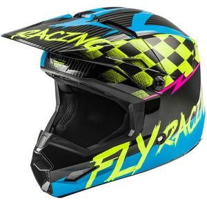 Casque cross KINETIC SKETCH BLUE HI-VIS BLACK PINK ENFANT  Blue/Pink