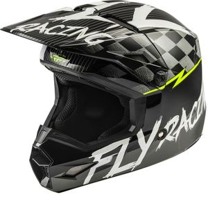 Casque cross KINETIC SKETCH MATTE BLACK WHITE HI-VIS ENFANT  Black White