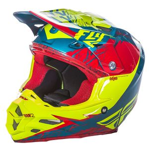 Casque cross F2 CARBON MIPS RETROSPEC - ROUGE JAUNE FLUO - 2017 Rouge/Jaune