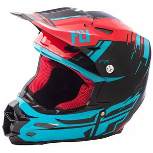 Casque Cross Fly F2 Carbon Mips Forge- Rouge Bleu Noir - 2018