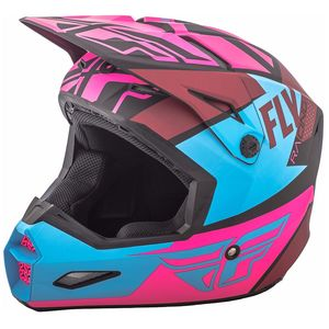 Casque cross ELITE GUILD - MATTE NEON PINK BLUE BLACK 2019 Rose/Bleu