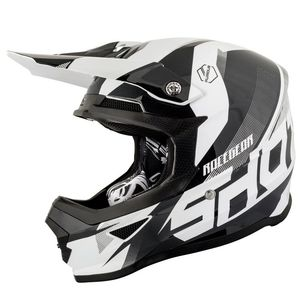Casque cross FURIOUS KID ULTIMATE - BLACK WHITE GLOSSY  Blanc