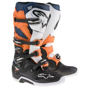 Bottes cross TECH 7 - BLACK ORANGE WHITE BLUE 2021 Black/Orange