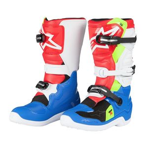 Bottes Cross Alpinestars Tech 7s Blue White Red Yellow Fluo Enfant 2018
