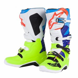 Bottes Cross Alpinestars Tech 7 Yellow Fluo White Blue Cyan 2018