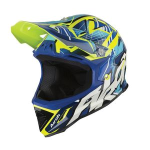 Casque cross ARCHER - BUMP GLOSS  Bleu/Jaune