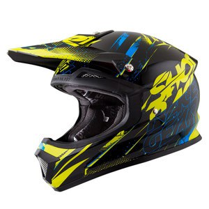 Casque cross FURIOUS CAPTURE NOIR BLEU LIME BRILLANT   Noir/Bleu