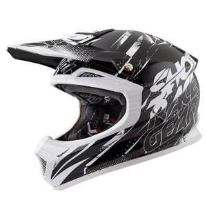 Casque cross FURIOUS CAPTURE NOIR BLANC BRILLANT   Noir/Blanc