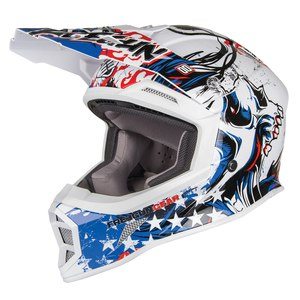 Casque cross MX605 US  2017 Blanc/Bleu/Rouge