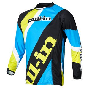 Maillot cross STRIPES ML  - CYAN/LIME 2015 Bleu/Jaune