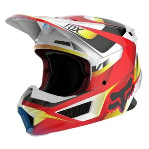 Casque cross V1 YOUTH - MOTIF - RED WHITE  Rouge/Blanc