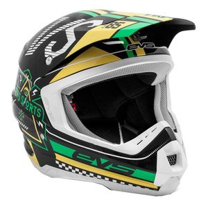 Casque cross T5 RALLY BLACK WHITE GREEN  2017 Noir/Blanc/Vert