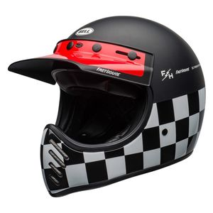 Casque MOTO-3 - FASTHOUSE CHECKERS  Noir/Blanc