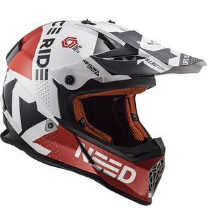 Casque cross MX437 - BLOCK - WHITE RED 2019 Blanc/Rouge
