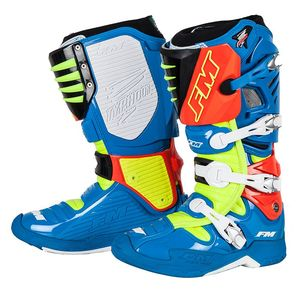 Bottes Cross Fm Racing Typhoon Ii Blue / Yellow 2018