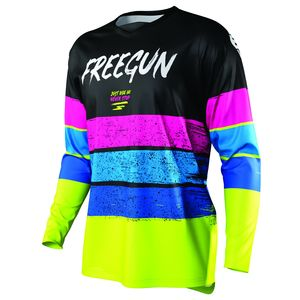 Maillot cross DEVO STRIPE - NEON YELLOW BLUE PINK 2021 Neon Yellow Blue Pink