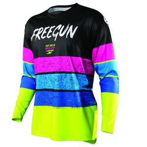 Maillot cross DEVO STRIPE KID - NEON YELLOW BLUE PINK  Neon Yellow Blue Pink