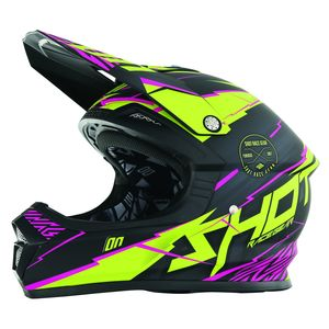 Casque cross FURIOUS INFINITY LIME ROSE MAT  2017 Jaune