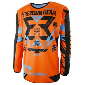 Maillot Cross Shot Destockage Devo Trooper Neon Orange Cyan Enfant 2017
