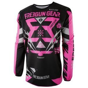 Maillot Cross Shot Destockage Devo Trooper Neon Rose Gris Enfant 2017
