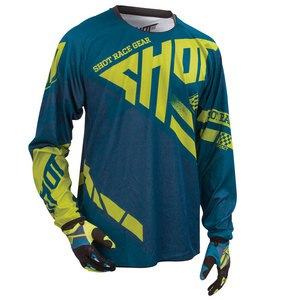 Maillot cross CONTACT RACEWAY JERSEY NAVY LIME   Bleu/Vert