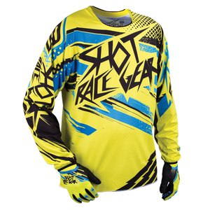 Maillot Cross Shot Destockage Contact Raid Ml Yellow Blue 2015
