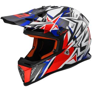 Casque cross MX437 - FAST MINI STRONG ENFANT  White Blue Red