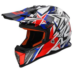 Casque Cross Ls2 Mx437 - Fast Strong White Blue Red 2018