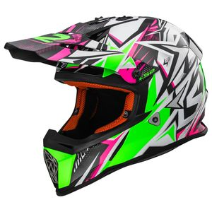 Casque Cross Ls2 Mx437 - Fast Strong White Green Pink 2018