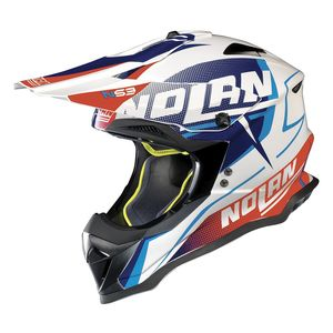 Casque cross N53 - SIDEWINDER - METAL WHITE BLUE RED 2019 Metal White 42