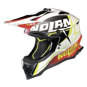 Casque Cross Nolan N53 Sidewinder Metal White Black Red 2018