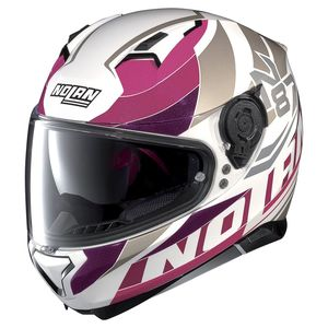 Casque Nolan N87 Plein Air N-com Metal White/pink
