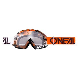 Masque cross B-10 - PIXEL - ORANGE WHITE - CLEAR 2021 White/Orange
