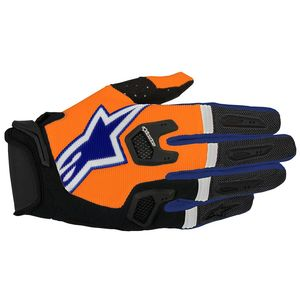 Gants Cross Alpinestars Racefend Orange Fluo Dark Blue White 2017