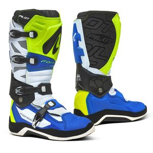 Bottes cross PILOT YELLOW FLUO/WHITE/BLUE 2021 Jaune fluo/Blanc/Bleu