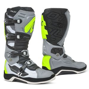 Bottes cross PILOT GREY/WHITE/YELLOW FLUO 2021 Gris/Blanc/Jaune fluo