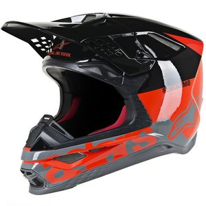 Casque cross SUPERTECH S-M8 RED FLUO BLACK MID GRAY GLOSSY 2021 Red Fluo Black Mid Gray Glossy