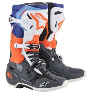 Bottes Cross Alpinestars Tech 10 Cool Gray Orange Fluo Blue White 2019