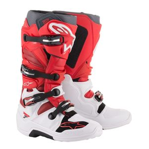 Bottes Cross Alpinestars Tech 7 White Red Burgundy 2019