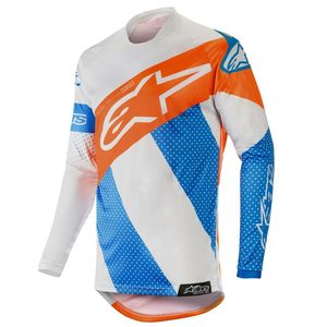 Maillot Cross Alpinestars Racer Tech Atomic Cool Gray Mid Blue Orange Fluo 2018