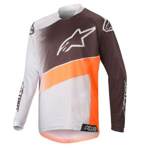 Maillot Cross Alpinestars Youth Racer Supermatic Light Gray Orange Fluo Black 2019