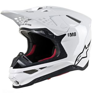 Casque cross SUPERTECH S-M8 - SOLID - WHITE GLOSSY 2021 WHITE GLOSSY