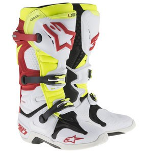 Bottes cross TECH 10 WHITE RED YELLOW FLUO  2018 White/Red/Yellow