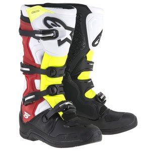 Bottes cross TECH 5 BLACK WHITE RED YELLOW FLUO  2018 Black/White/Red