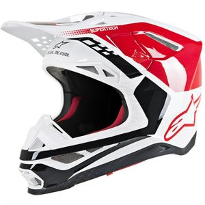 Casque cross SUPERTECH S-M8 TRIPLE RED WHITE GLOSSY 2021 Red White Glossy