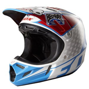 Casque Cross Fox Destockage V4 Reed Replica White/red/blue 2015